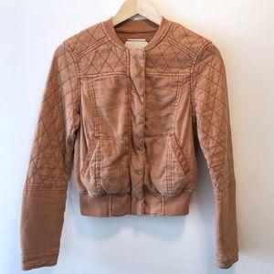 Anthropologie Hei Hei Quilted Linen Bomber Jacket